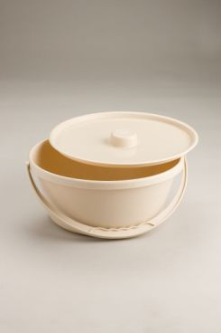 Commode Bowl Beige with lid and handle. Product Code B102B