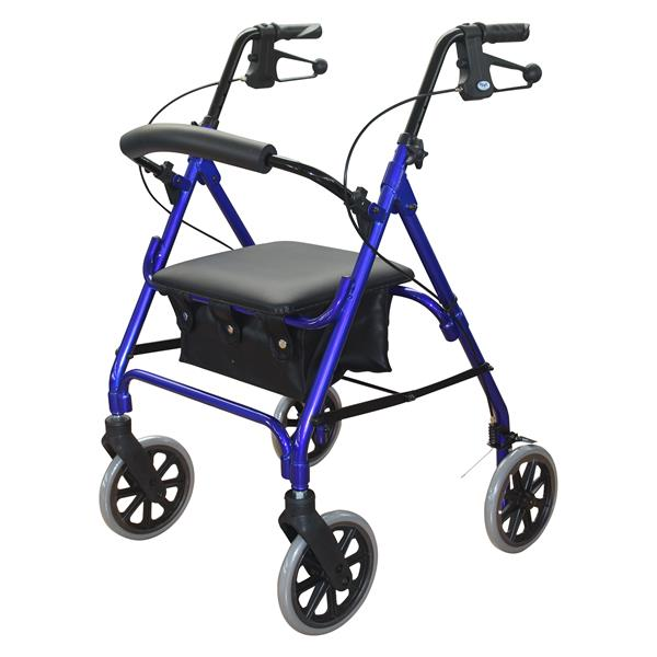 "Days 105 Rollator Seat Walker, 8"" Wheels, BLUE"