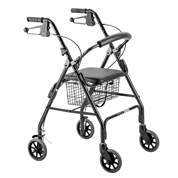 Days Seat Walker with Handbrakes and Curved Backrest, Black. Product Code:MFI-MOBWAL70168