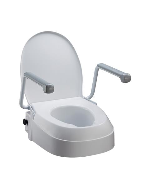 Raised Toilet Seat with Arms, three fixed adjustable seat heights 60mm, 100mm, 150mm