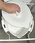 Toilet bowl with lid for folding over toilet aid. Product Code NOV-BAT68662