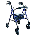 "DAYS-KD1012-BLUE Rollator Seat Walker, 7.5"" Wheels, BLUE"